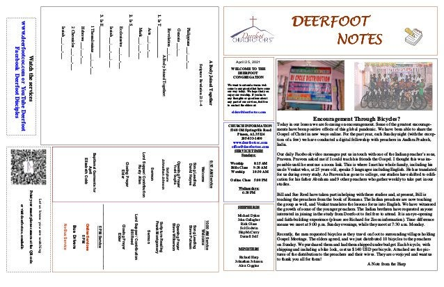 DEERFOOT DEERFOOT DEERFOOT DEERFOOT NOTES NOTES NOTES NOTES April 25, 2021 Let us know you are watching Point your smart p...