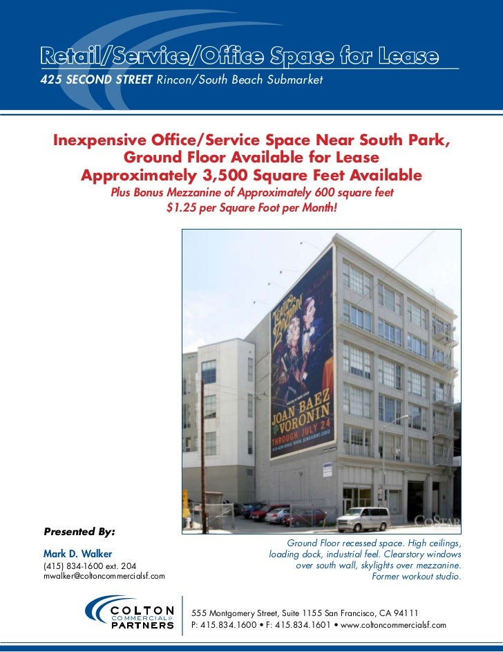 Retail/Service/Office Space for Lease425 Second STReeT Rincon/South Beach Submarket  Inexpensive Office/Service Space Near...