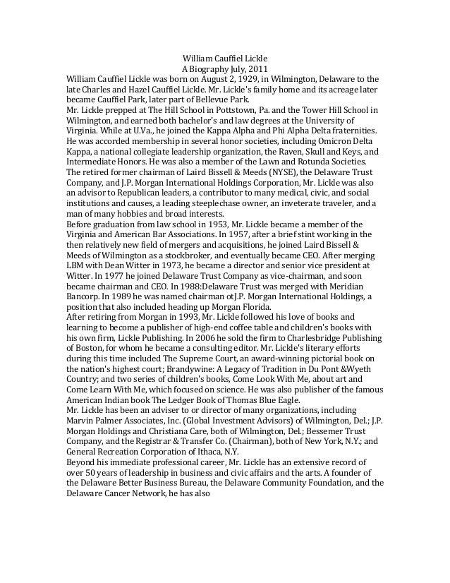 William  Cauffiel  Lickle   A  Biography  July,  2011   William  Cauffiel  Lickle  was  born  on ...
