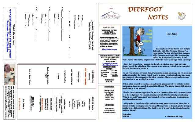 DEERFOOTDEERFOOTDEERFOOTDEERFOOT NOTESNOTESNOTESNOTES April 26, 2020 WELCOME TO THE DEERFOOT CONGREGATION We want to exten...