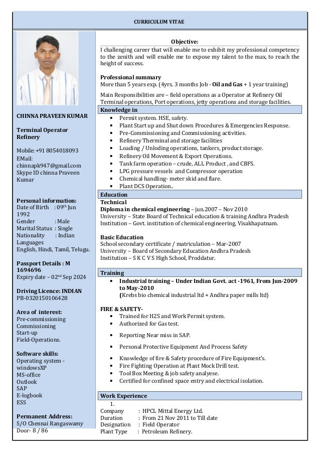 Resume For A Refinery Operator