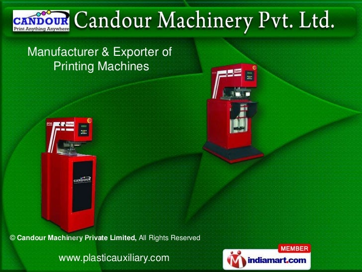 Manufacturer & Exporter of        Printing Machines© Candour Machinery Private Limited, All Rights Reserved              w...