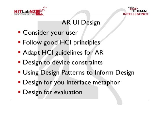 2013 lecture 6  ar user interface design guidelines