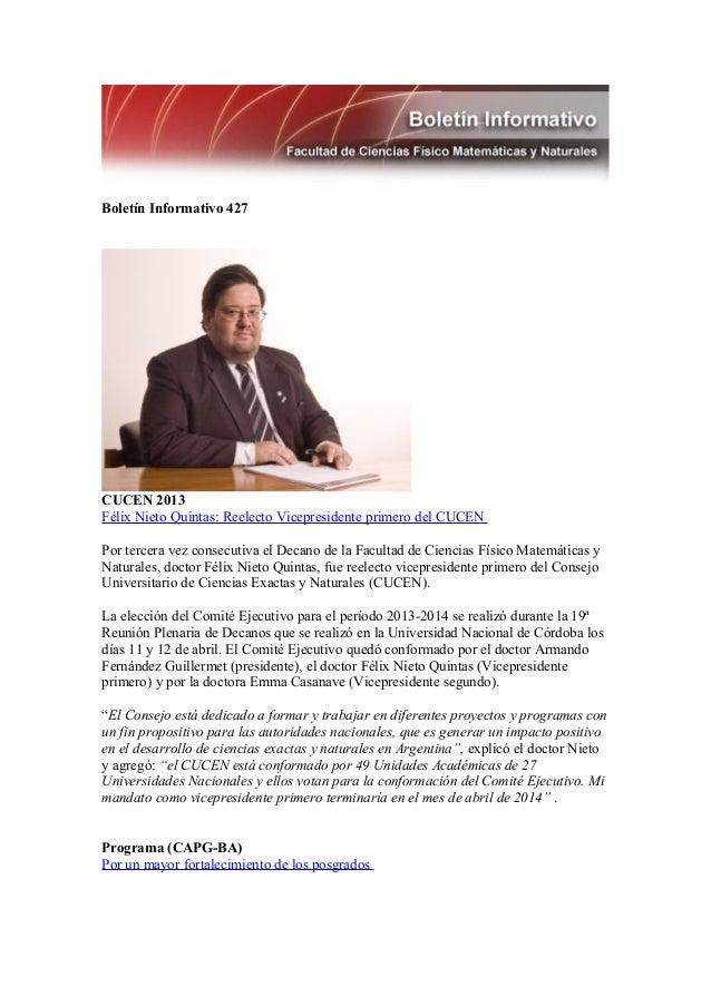 Boletín Informativo 427CUCEN 2013Félix Nieto Quintas: Reelecto Vicepresidente primero del CUCENPor tercera vez consecutiva...