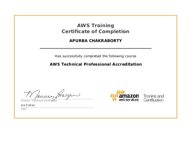 aws certificate professional technical accreditation training completion slideshare completed suresh business successfully upcoming apurba course