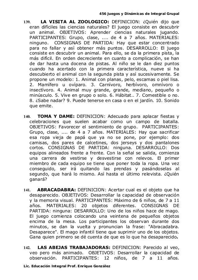 456 Juegos y Dinámicas de Integral Grupal 139. LA VISITA AL ZOOLOGICO: DEFINICION: ¿Quién dijo que eran difíciles las cien...