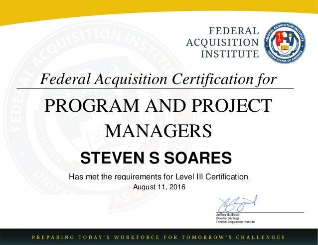 FAC-P-PM Certification Level III Senior IT