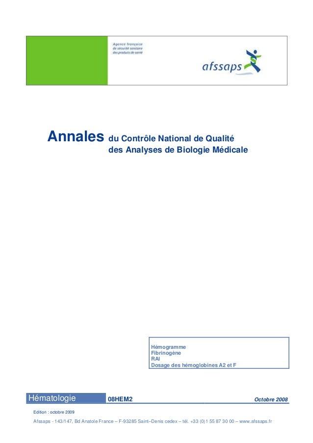 Annales du Contrôle National de Qualité  des Analyses de Biologie Médicale  Hémogramme  Fibrinogène  RAI  Dosage des hémog...