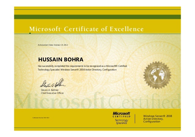 Steven A. Ballmer Chief Executive Officer HUSSAIN BOHRA Has successfully completed the requirements to be recognized as a M...