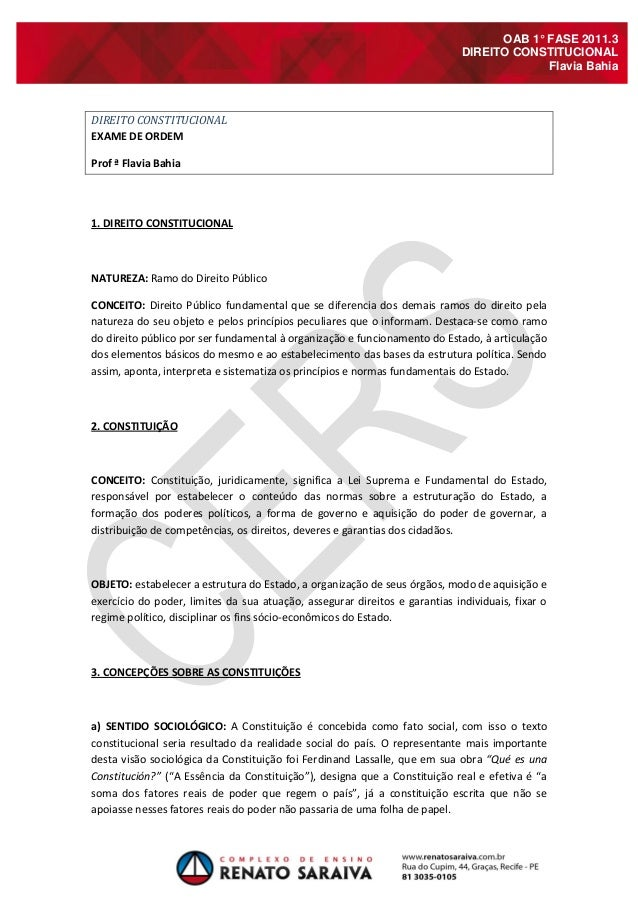 OAB 1° FASE 2011.3 DIREITO CONSTITUCIONAL Flavia Bahia DIREITO CONSTITUCIONAL EXAME DE ORDEM Prof ª Flavia Bahia 1. DIREIT...