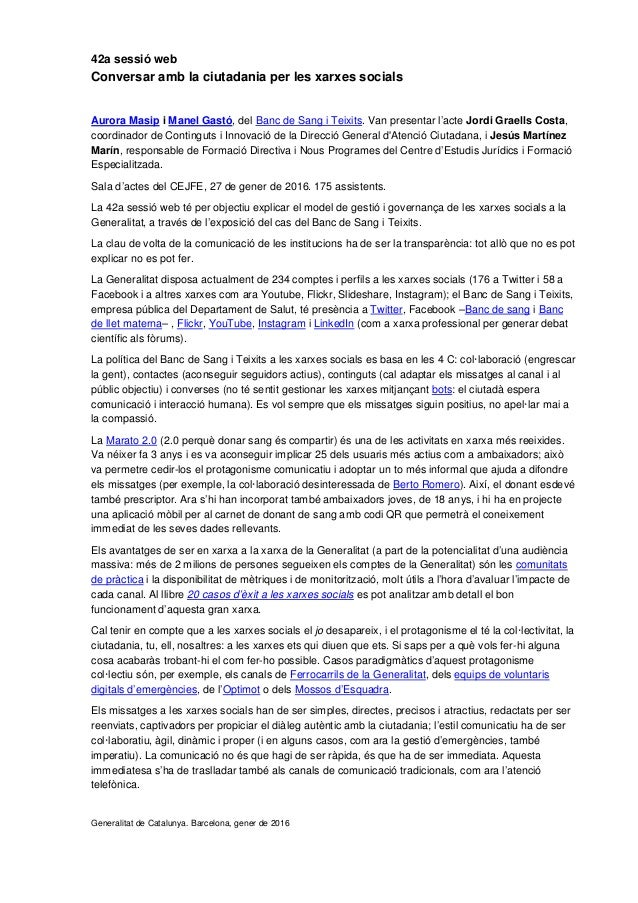 42a sessió web Conversar amb la ciutadania per les xarxes socials Aurora Masip i Manel Gastó, del Banc de Sang i Teixits. ...