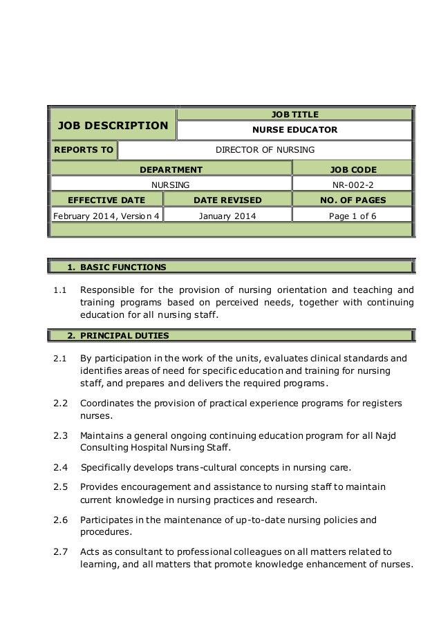 NURSE EDUCATOR job description – Nurse Educator Job Description