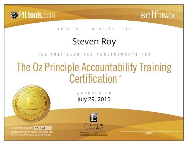 OZ Principle Training Certification