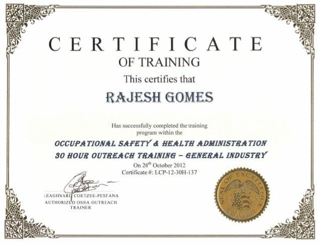 osha certificate for rajesh gomes
