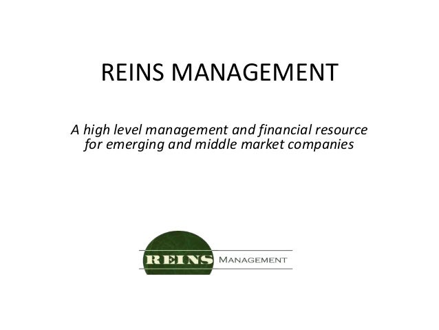 REINS MANAGEMENT A high level management and financial resource for emerging and middle market companies
