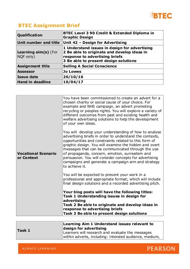 assignment brief unit 1 level 3 Assignment btec level 3 extended diploma in construction and the built  environment  safety and welfare in construction date due for submission __/__ /__ 1  btec extended diploma in construction unit tutor matthew flynn  internal verifier  of task/activity (insert here or attach separate brief) see  assignment brief.