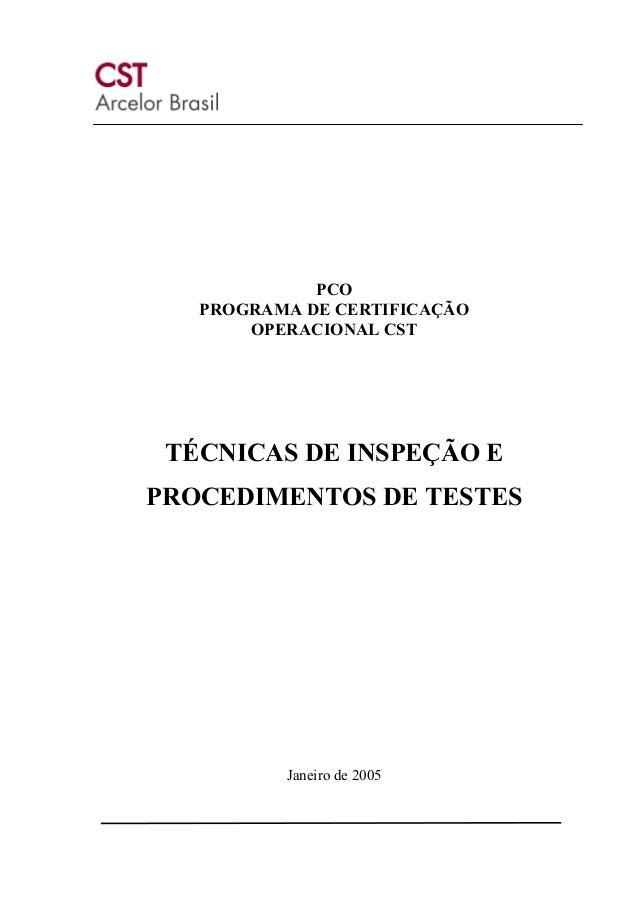 PCO PROGRAMA DE CERTIFICAÇÃO OPERACIONAL CST  TÉCNICAS DE INSPEÇÃO E PROCEDIMENTOS DE TESTES  Janeiro de 2005