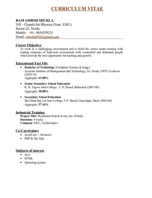 Ram Ashish Shukla Resume Formate Pdf