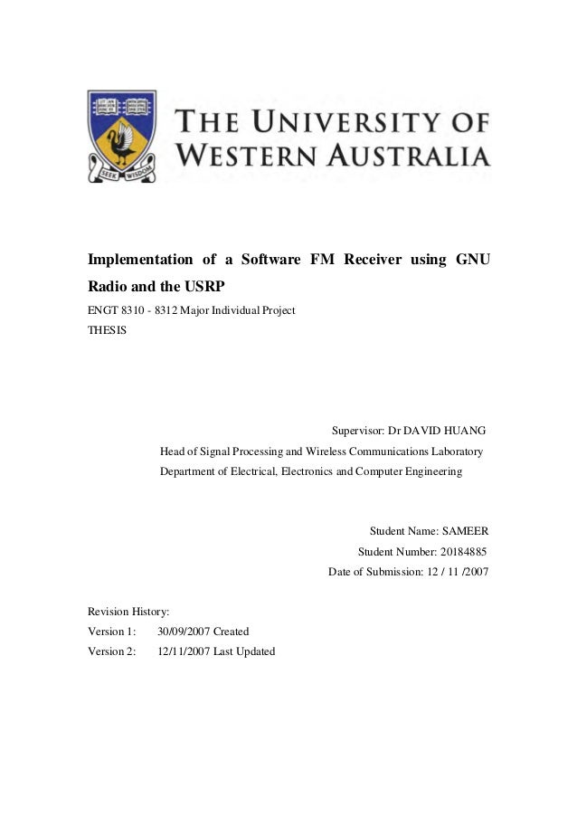 UWA M E Project Report - Implementation of a Software FM