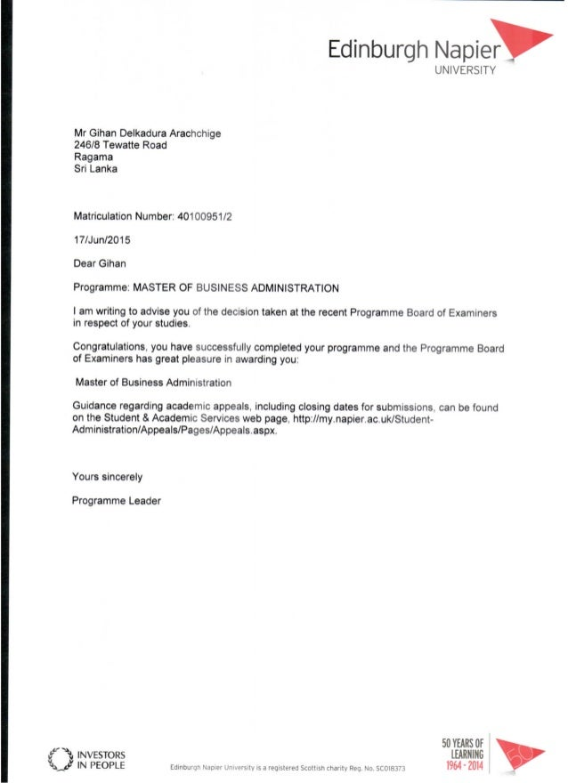 EdinburghNapi訂r UNIVERSiTY MrGihanDeIkaduraArachchlge 246/8TewatteRoad Ragama SriLanka MatricuIatlcnNumber:40100951I2 17/J...