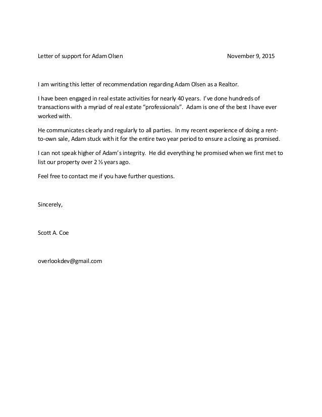 Realtor Recommendation Letters Tirevi Fontanacountryinn Com
