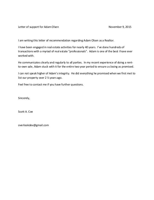 Recommendation Letter From Seller