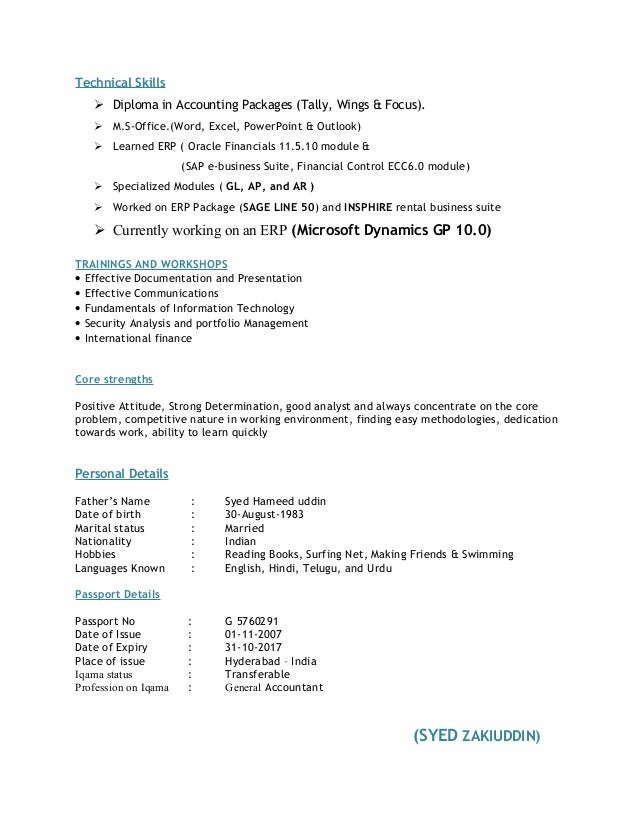 technical skill in resumes