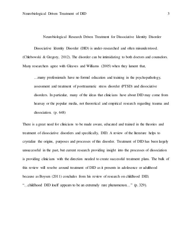 Dissociative identity disorder research papers
