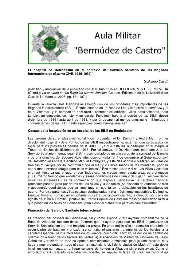 El hospital de Benicàssim en el contexto del Servicio sanitario de las brigadas 1 internacionales (Guerra Civil, 1936-1939...