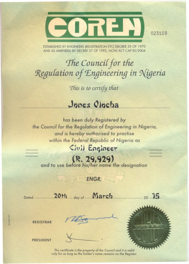 Jones Coren Certificate