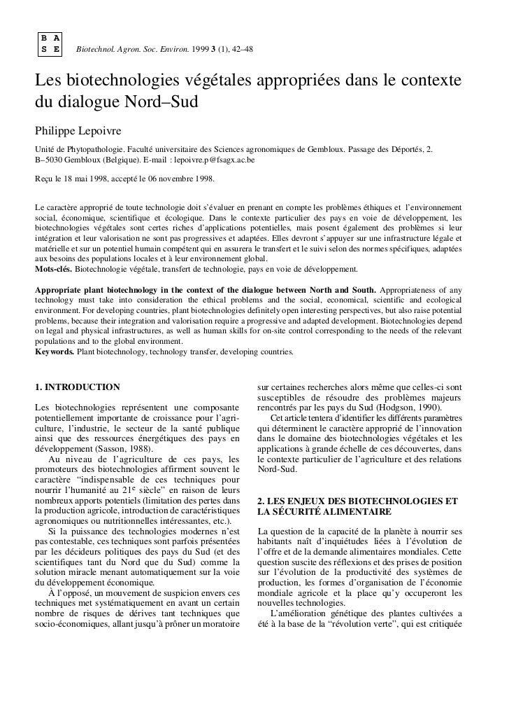 B A S E        Biotechnol. Agron. Soc. Environ. 1999 3 (1), 42–48Les biotechnologies végétales appropriées dans le context...