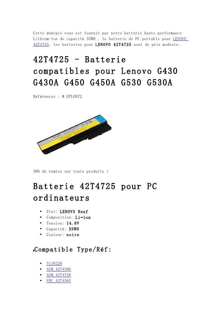 Cette énèrgie vous est fournie par notre batterie haute performanceLithium-Ion de capacité 35WH , la batterie de PC portab...