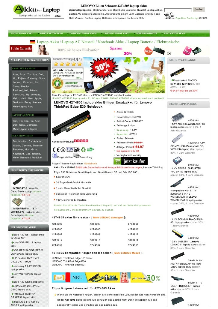 LENOVO Li-ion Schwarz 42T4805 laptop akku                                               akkufurlaptop.com:Großhändlerund...