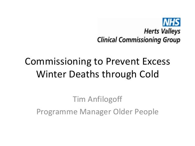 Commissioning to Prevent Excess Winter Deaths through Cold Tim Anfilogoff Programme Manager Older People