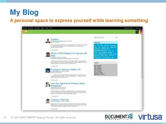My Blog  A personal space to express yourself while learning something  15 © 2012 DOCUMENT Strategy Forum. All rights rese...