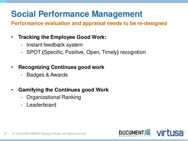 Social Performance Management  Performance evaluation and appraisal needs to be re-designed  • Tracking the Employee Good ...
