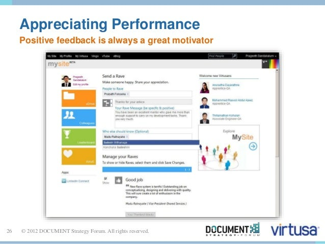 Appreciating Performance  Positive feedback is always a great motivator  26 © 2012 DOCUMENT Strategy Forum. All rights res...