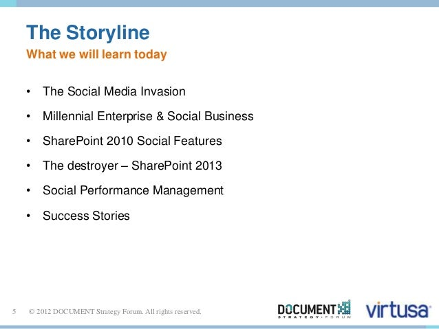 The Storyline  What we will learn today  • The Social Media Invasion  • Millennial Enterprise & Social Business  • SharePo...
