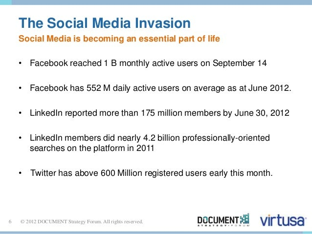 The Social Media Invasion  Social Media is becoming an essential part of life  • Facebook reached 1 B monthly active users...