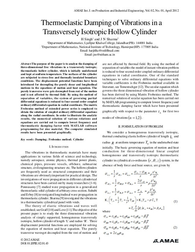 AMAE Int. J. on Production and Industrial Engineering, Vol. 02, No. 01, April 2012                 Thermoelastic Damping o...