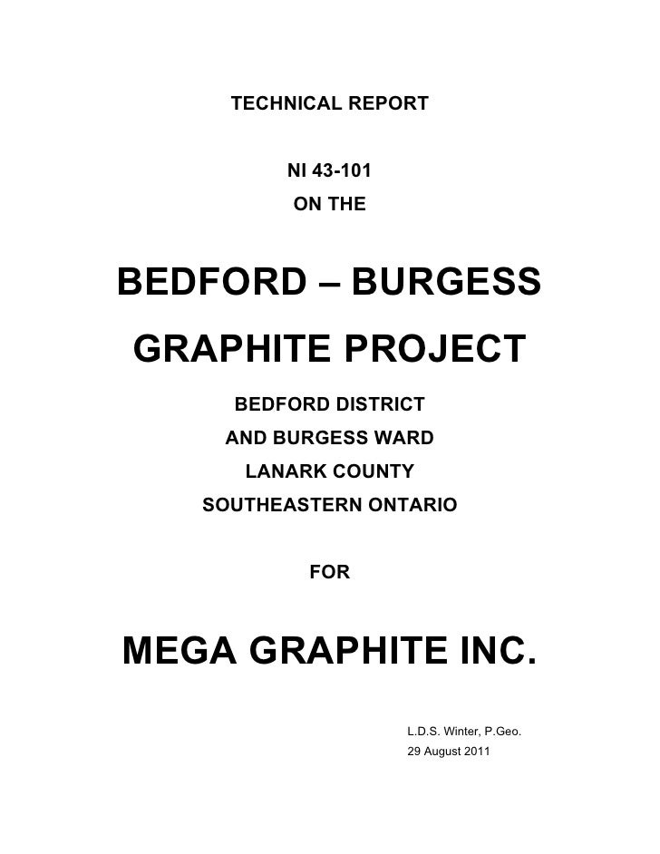 TECHNICAL REPORT         NI 43-101          ON THEBEDFORD – BURGESSGRAPHITE PROJECT     BEDFORD DISTRICT    AND BURGESS WA...