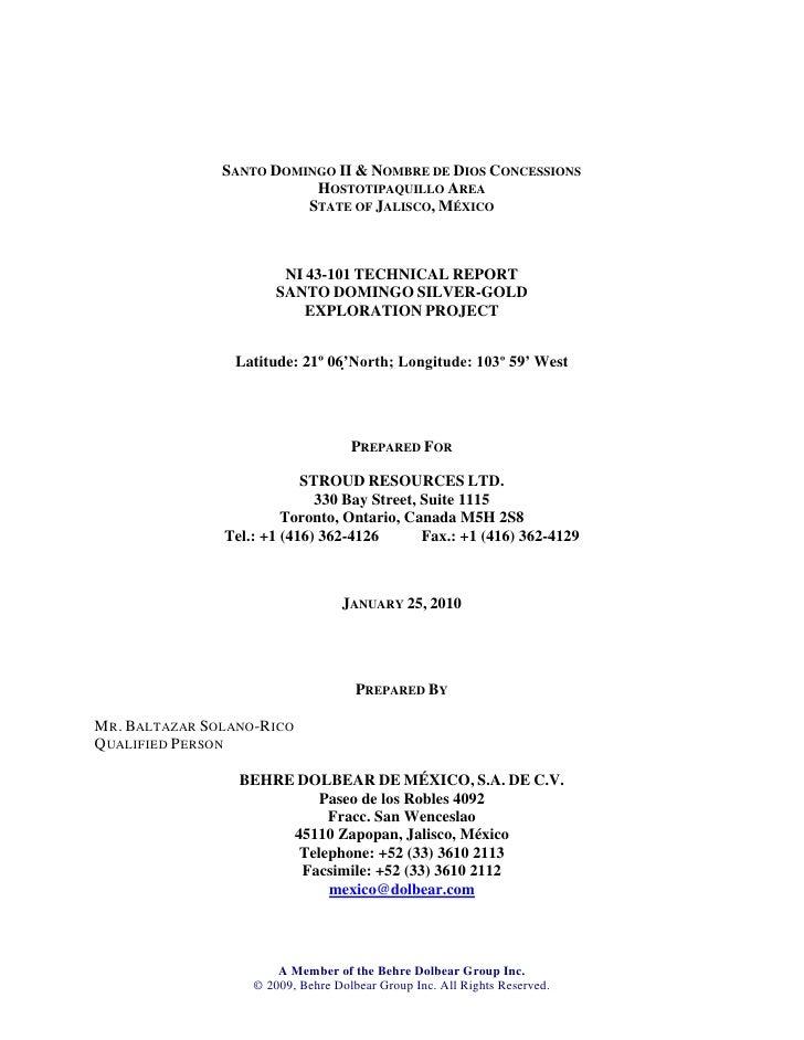 SANTO DOMINGO II & NOMBRE DE DIOS CONCESSIONS                             HOSTOTIPAQUILLO AREA                            ...