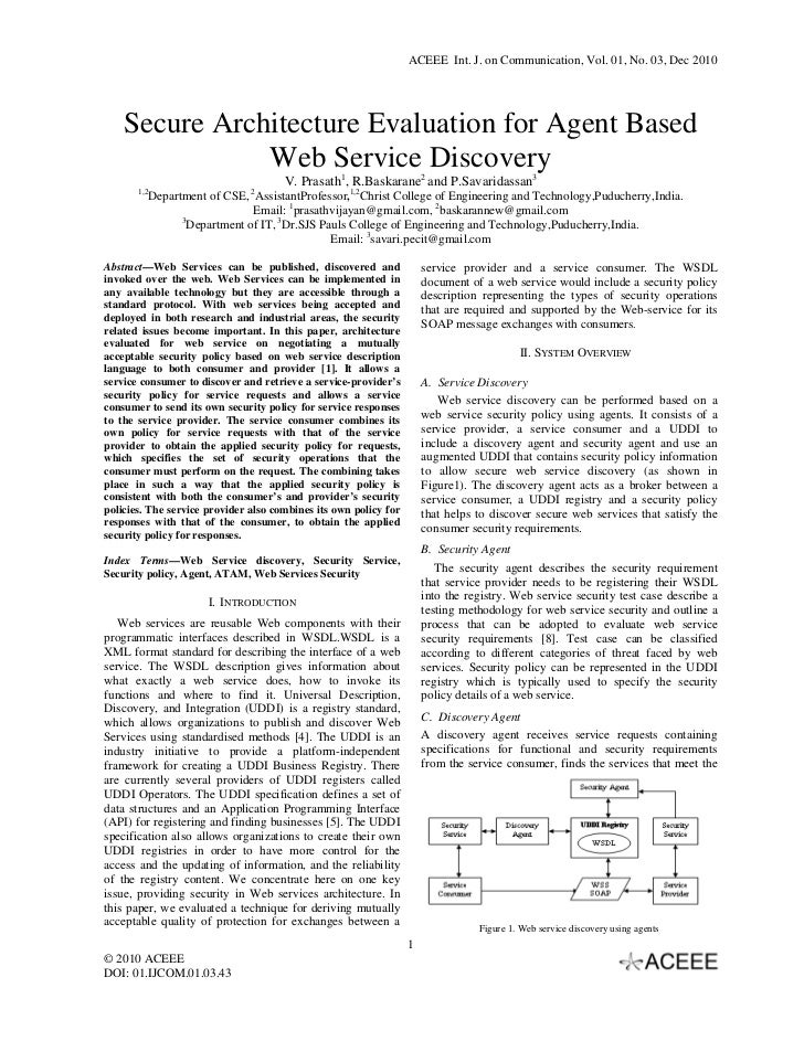ACEEE Int. J. on Communication, Vol. 01, No. 03, Dec 2010    Secure Architecture Evaluation for Agent Based               ...