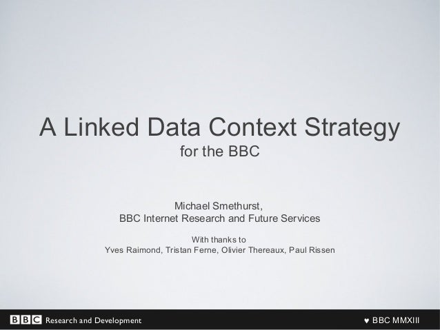 Research and Development ♥ BBC MMXIII A Linked Data Context Strategy for the BBC Michael Smethurst, BBC Internet Research ...