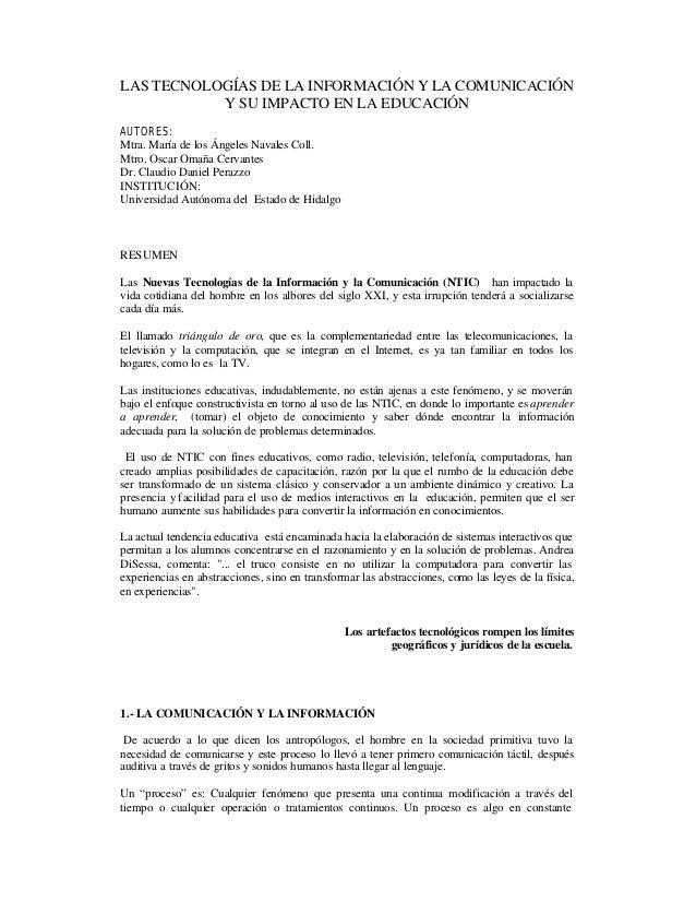 LAS TECNOLOGÍAS DE LA INFORMACIÓN Y LA COMUNICACIÓN Y SU IMPACTO EN LA EDUCACIÓN AUTORES: Mtra. María de los Ángeles Naval...