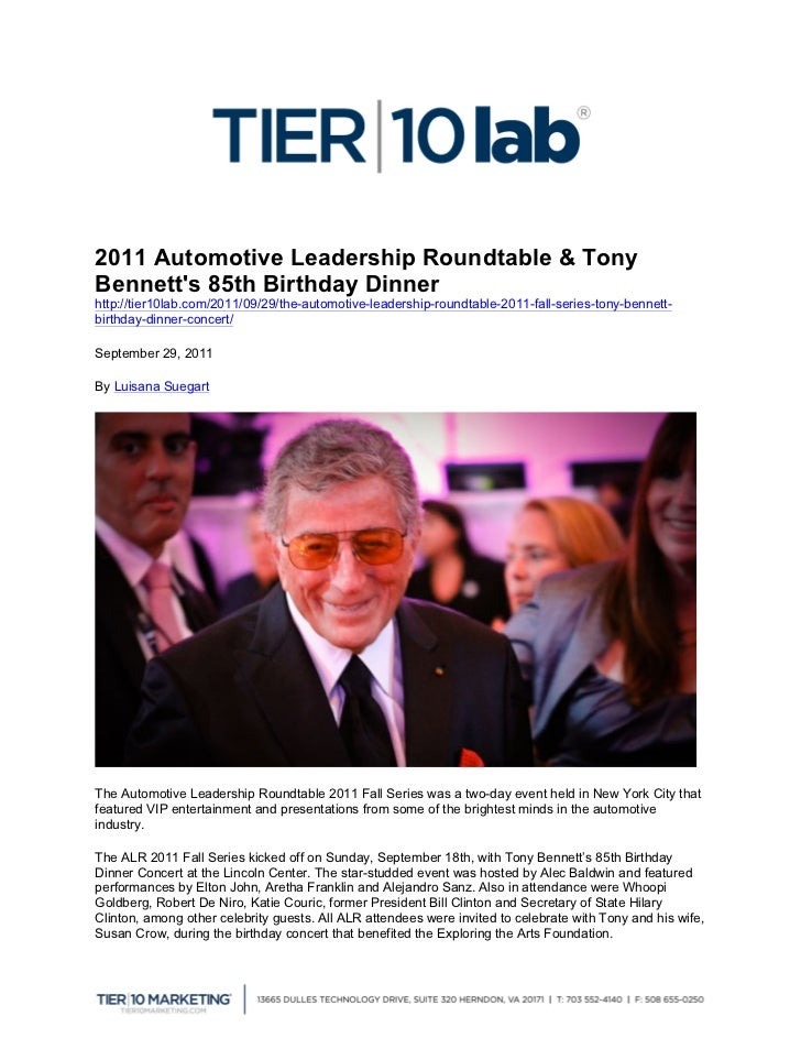 2011 Automotive Leadership Roundtable & TonyBennetts 85th Birthday Dinnerhttp://tier10lab.com/2011/09/29/the-automotive-l...