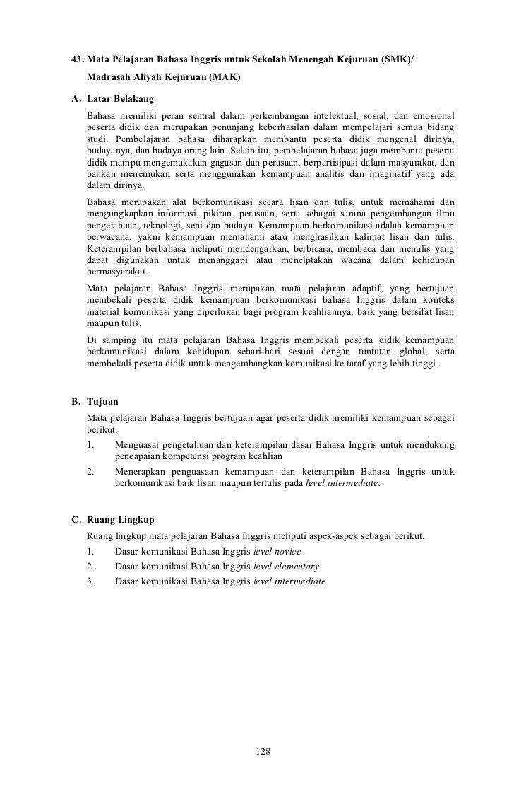 43. Mata Pelajaran Bahasa Inggris untuk Sekolah Menengah Kejuruan (SMK)/   Madrasah Aliyah Kejuruan (MAK)A. Latar Belakang...