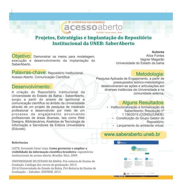 Projetos, estratégias e implantação do repositório institucional da UNEB: Saber Aberto - CONFOA 2017