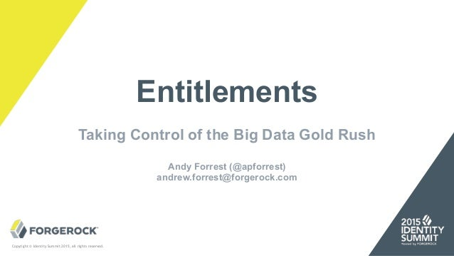 Copyright © Identity Summit 2015, all rights reserved. Entitlements Taking Control of the Big Data Gold Rush Andy Forrest ...