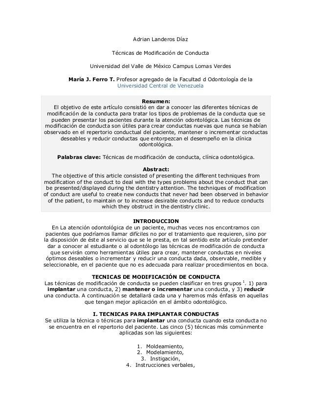 Adrian Landeros Díaz                           Técnicas de Modificación de Conducta                  Universidad del Valle...